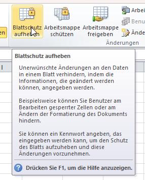 Microsoft Excel Datei mit einem Blattschutz ( Passwort ) vor ...